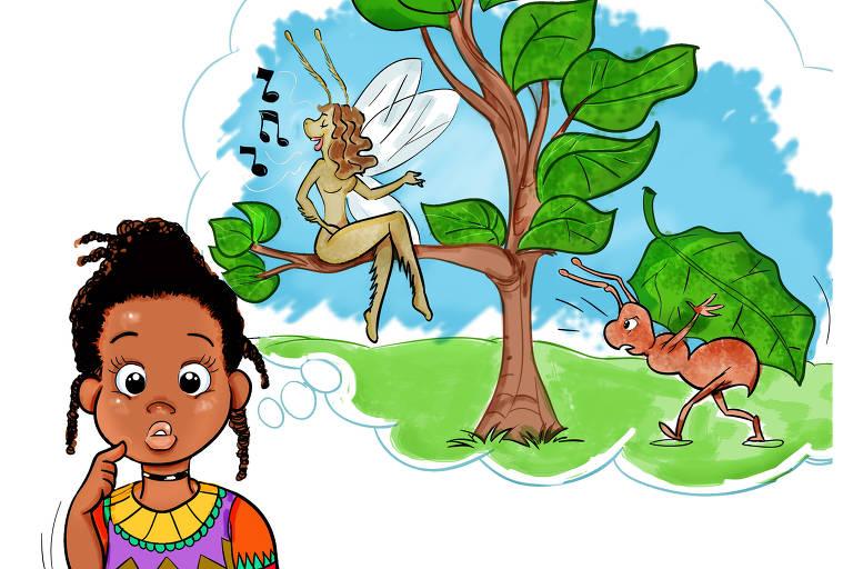 Ilustração em que criança imagina uma fada, sentada em uma árvore, ao lado de uma formiga gigante