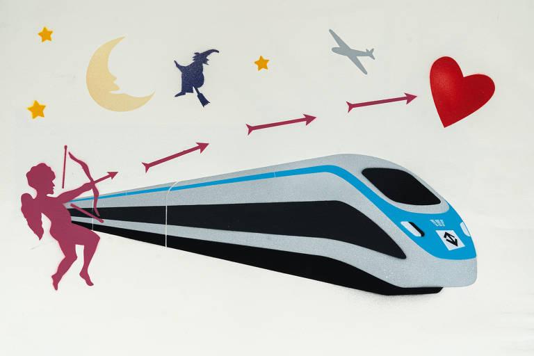Ilustração do grafiteiro Ozi para a categoria serviço público mostra vagão do metrô e um cupido lançando flechas