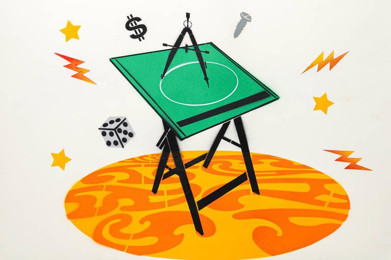 Ilustração do grafiteiro Ozi para a categoria curso técnico profissionalizante mostra um compasso em cima de uma mesa verde