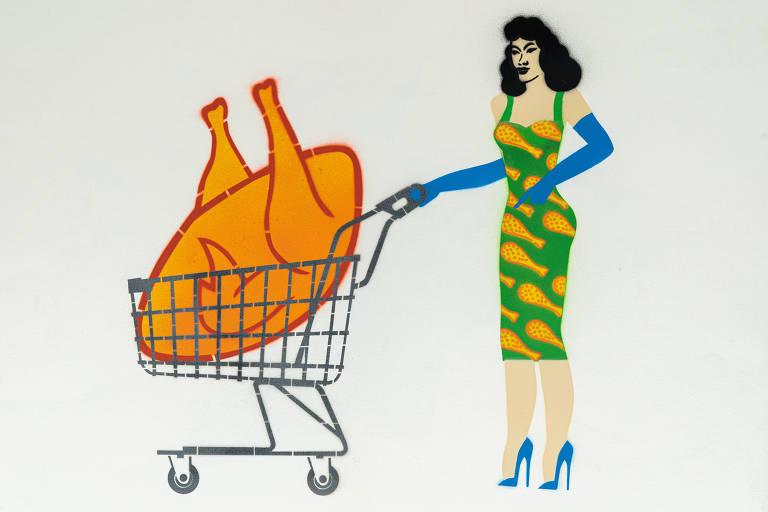 Ilustração do grafiteiro Ozi mostra mulher com carrinho de supermercado que abriga um frango gigante dentro