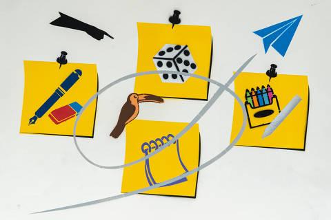 São Paulo, SP, Brasil, 17-04-2020: Categoria papelaria. Reprodução de ilustrações feitas pelo grafiteiro Ozi para a revista especial OMSP Serviços. As ilustrações foram inspiradas no trabalho de Alex Vallauri, um dos pioneiros do grafitti no Brasil (foto Gabriel Cabral/Folhapress)