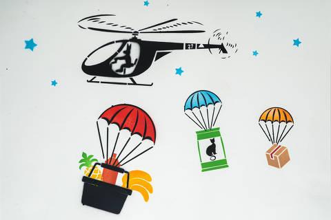 São Paulo, SP, Brasil, 19-04-2020: Categoria delivery supermercado. Reprodução de ilustrações feitas pelo grafiteiro Ozi para a revista especial OMSP Serviços. As ilustrações foram inspiradas no trabalho de Alex Vallauri, um dos pioneiros do grafitti no Brasil (foto Gabriel Cabral/Folhapress)