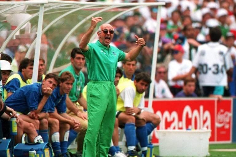 Arrigo Sacchi durante a Copa do Mundo de 1994, nos Estados Unidos