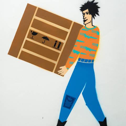 São Paulo, SP, Brasil, 19-04-2020: Categoria atacadista. Reprodução de ilustrações feitas pelo grafiteiro Ozi para a revista especial OMSP Serviços. As ilustrações foram inspiradas no trabalho de Alex Vallauri, um dos pioneiros do grafitti no Brasil (foto Gabriel Cabral/Folhapress)