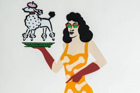 São Paulo, SP, Brasil, 19-04-2020: Categoria Petshop. Reprodução de ilustrações feitas pelo grafiteiro Ozi para a revista especial OMSP Serviços. As ilustrações foram inspiradas no trabalho de Alex Vallauri, um dos pioneiros do grafitti no Brasil (foto Gabriel Cabral/Folhapress)