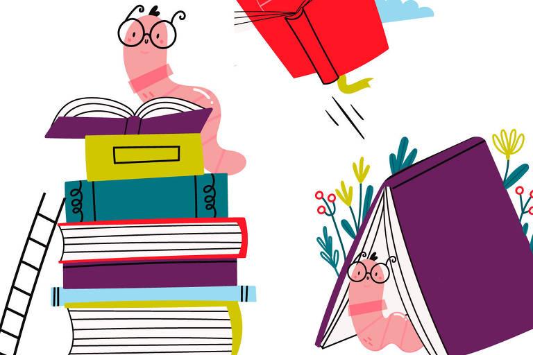 Na ilustração, traças de óculos leem sobre pilhas de livros