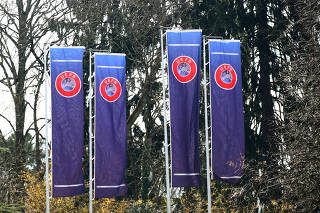 FILE PHOTO: The headquarters of UEFA is pictured in Nyon