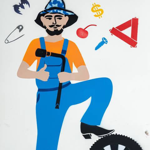 São Paulo, SP, Brasil, 19-04-2020: Categoria serviço de manutenção de carro. Reprodução de ilustrações feitas pelo grafiteiro Ozi para a revista especial OMSP Serviços. As ilustrações foram inspiradas no trabalho de Alex Vallauri, um dos pioneiros do grafitti no Brasil (foto Gabriel Cabral/Folhapress)