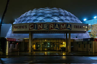 The Cinerama Dome theater in Los Angeles, Calif., on April 8, 2020.  (Kate Warren/The New York Times)