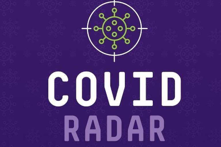 """Logo roxo, com ilustração verde de vírus, e letreiro branco escritor """"Covid Radar"""""""