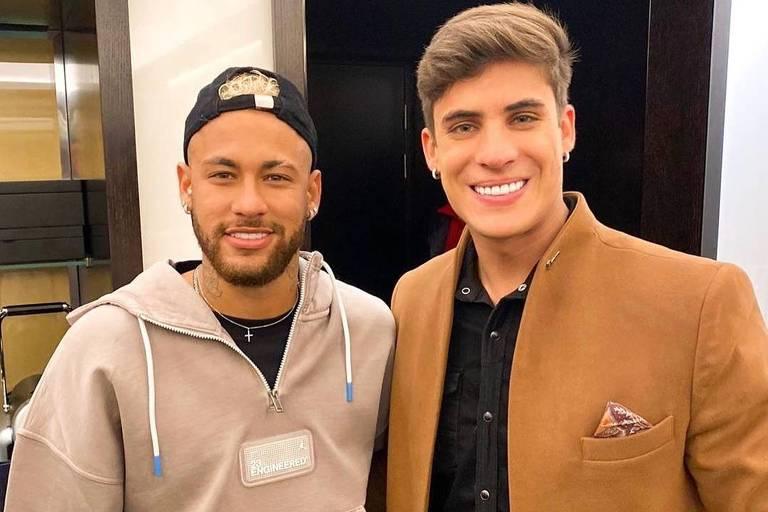 Neymar e o padrasto Tiago Ramos