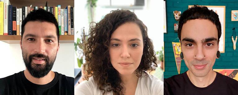 Foto traz uma sequência de selfies com o rosto dos jornalistas Fábio Takahashi, Juliana Deodoro e  Ricardo Ampudia