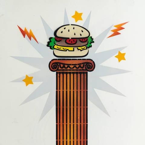 São Paulo, SP, Brasil, 17-04-2020: Categoria rede fast-food. Reprodução de ilustrações feitas pelo grafiteiro Ozi para a revista especial OMSP Serviços. As ilustrações foram inspiradas no trabalho de Alex Vallauri, um dos pioneiros do grafitti no Brasil (foto Gabriel Cabral/Folhapress)