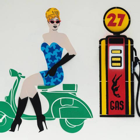 São Paulo, SP, Brasil, 17-04-2020: Categoria posto de combustível. Reprodução de ilustrações feitas pelo grafiteiro Ozi para a revista especial OMSP Serviços. As ilustrações foram inspiradas no trabalho de Alex Vallauri, um dos pioneiros do grafitti no Brasil (foto Gabriel Cabral/Folhapress)