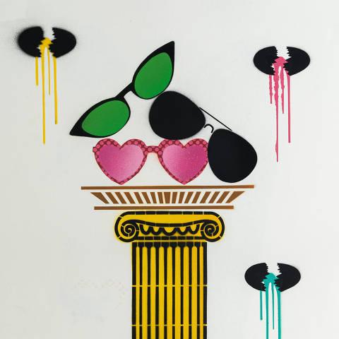 São Paulo, SP, Brasil, 17-04-2020: Categoria ótica. Reprodução de ilustrações feitas pelo grafiteiro Ozi para a revista especial OMSP Serviços. As ilustrações foram inspiradas no trabalho de Alex Vallauri, um dos pioneiros do grafitti no Brasil (foto Gabriel Cabral/Folhapress)