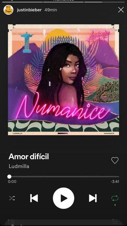 Justin Bieber compartilha música da brasileira Ludmilla