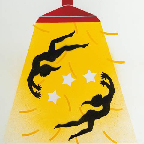 São Paulo, SP, Brasil, 17-04-2020: Categoria shopping decoração. Reprodução de ilustrações feitas pelo grafiteiro Ozi para a revista especial OMSP Serviços. As ilustrações foram inspiradas no trabalho de Alex Vallauri, um dos pioneiros do grafitti no Brasil (foto Gabriel Cabral/Folhapress)