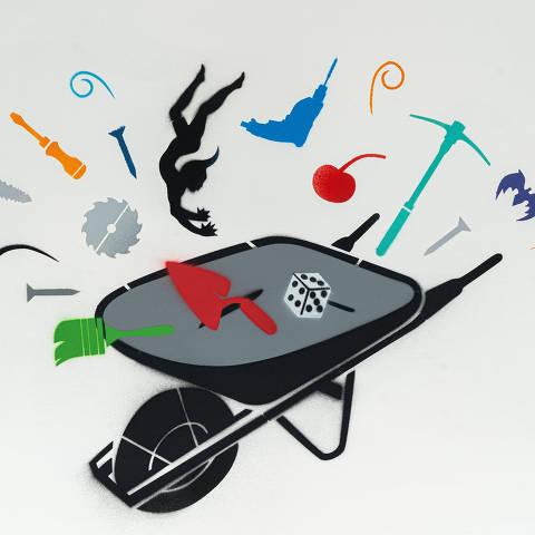 São Paulo, SP, Brasil, 17-04-2020: Categoria loja de material de construção. Reprodução de ilustrações feitas pelo grafiteiro Ozi para a revista especial OMSP Serviços. As ilustrações foram inspiradas no trabalho de Alex Vallauri, um dos pioneiros do grafitti no Brasil (foto Gabriel Cabral/Folhapress)