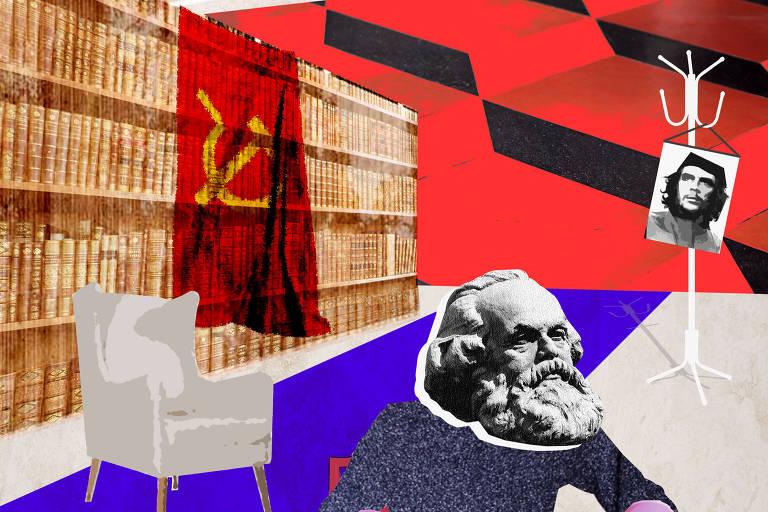 Marx escrevendo um livro em uma sala temática comunista