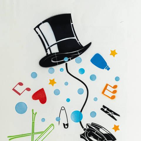 São Paulo, SP, Brasil, 17-04-2020: Categoria lavanderia. Reprodução de ilustrações feitas pelo grafiteiro Ozi para a revista especial OMSP Serviços. As ilustrações foram inspiradas no trabalho de Alex Vallauri, um dos pioneiros do grafitti no Brasil (foto Gabriel Cabral/Folhapress)