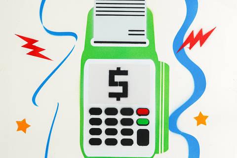 São Paulo, SP, Brasil, 12-04-2020: Categoria bandeira de cartão de crédito. Reprodução de ilustrações feitas pelo grafiteiro Ozi para a revista especial OMSP Serviços. As ilustrações foram inspiradas no trabalho de Alex Vallauri, um dos pioneiros do grafitti no Brasil (foto Gabriel Cabral/Folhapress)