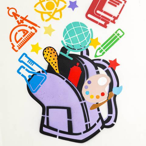 São Paulo, SP, Brasil, 12-04-2020: Categoria colégio particular. Reprodução de ilustrações feitas pelo grafiteiro Ozi para a revista especial OMSP Serviços. As ilustrações foram inspiradas no trabalho de Alex Vallauri, um dos pioneiros do grafitti no Brasil (foto Gabriel Cabral/Folhapress)