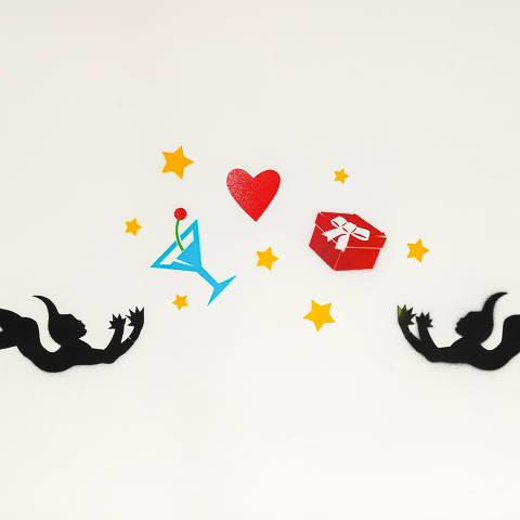 São Paulo, SP, Brasil, 12-04-2020: Categoria loja de presente de casamento. Reprodução de ilustrações feitas pelo grafiteiro Ozi para a revista especial OMSP Serviços. As ilustrações foram inspiradas no trabalho de Alex Vallauri, um dos pioneiros do grafitti no Brasil (foto Gabriel Cabral/Folhapress)