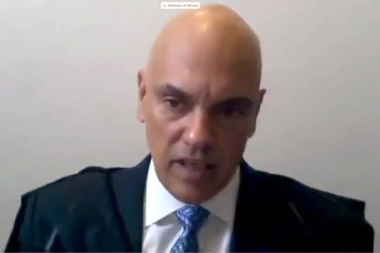 O ministro Alexandre de Moraes, do Supremo Tribunal Federal, em videoconferência
