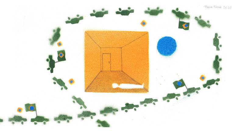 Ilustração de carros verdes enfileirados dando a volta em um quadrado amarelo. O quadrado parece um cômodo vazio com uma pessoa deitada no chão. Há um círculo azul na imagem e algumas bandeiras do Brasil em alguns carros.