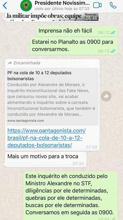 Reprodução da conversa entre Moro e Bolsonaro no WhatsApp