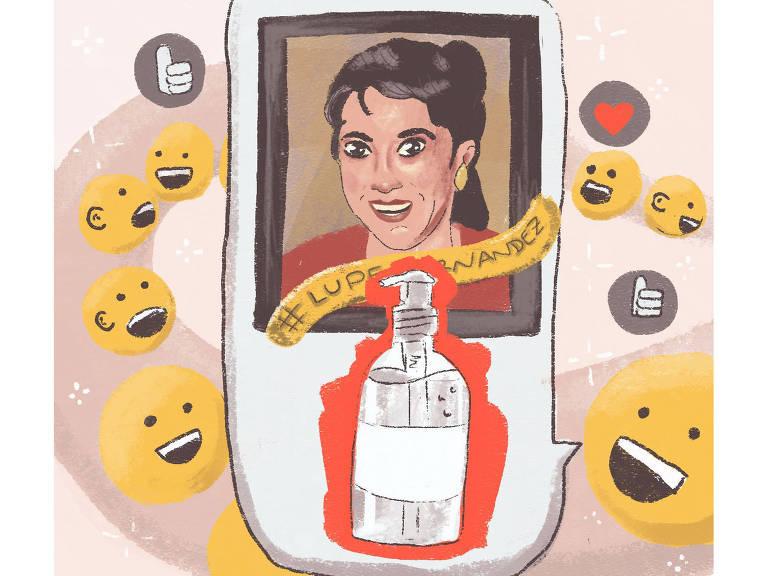 Ilustração mostra Lupe Hernandez, suposta criadora do álcool em gel. Ela está cercada de emoticons sorrindo e joinhas e corações.