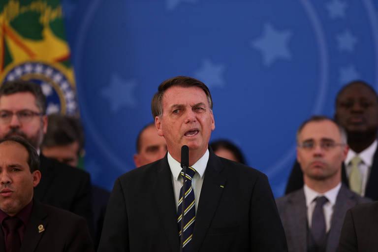 O presidente Bolsonaro durante pronunciamento nesta sexta-feira (24) sobre a saída de Sergio Moro do governo