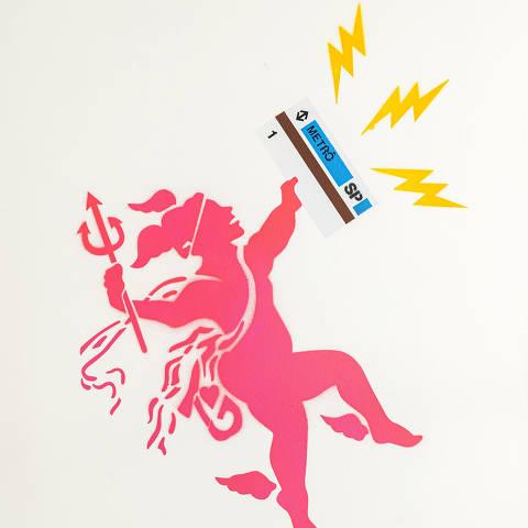 São Paulo, SP, Brasil, 12-04-2020: Categoria servioço de transporte.  Reprodução de ilustrações feitas pelo grafiteiro Ozi para a revista especial OMSP Serviços. As ilustrações foram inspiradas no trabalho de Alex Vallauri, um dos pioneiros do grafitti no Brasil (foto Gabriel Cabral/Folhapress)
