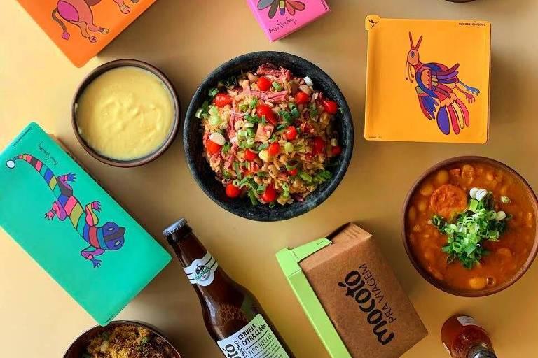 Embalagens e pratos do delivery do Mocotó