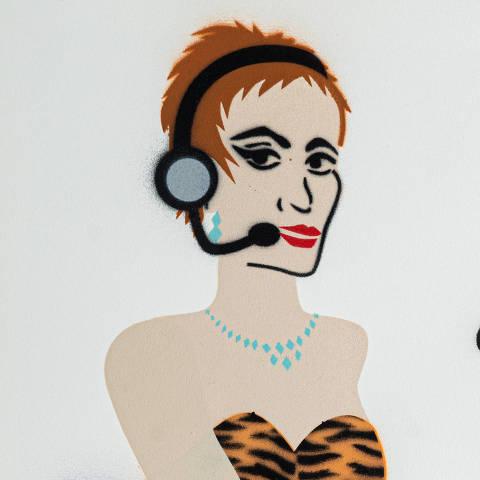 São Paulo, SP, Brasil, 19-04-2020: Categoria atendimento ao consumidor. Reprodução de ilustrações feitas pelo grafiteiro Ozi para a revista especial OMSP Serviços. As ilustrações foram inspiradas no trabalho de Alex Vallauri, um dos pioneiros do grafitti no Brasil (foto Gabriel Cabral/Folhapress)