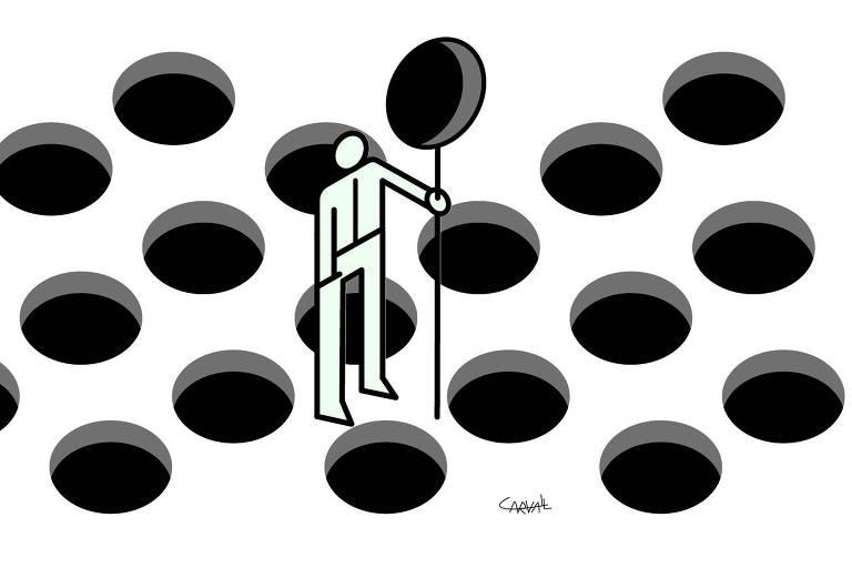 Ilustração  Carvall ombudsman publicada no dia 26 de abril de 2020, nela o desenho de um pictograma ao centro e a sua volta buracos