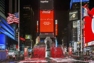 A Friday night at Times Square in Manhattan during the coronavirus pandemic, April 16, 2020. (David S. Allee/The New York Times)