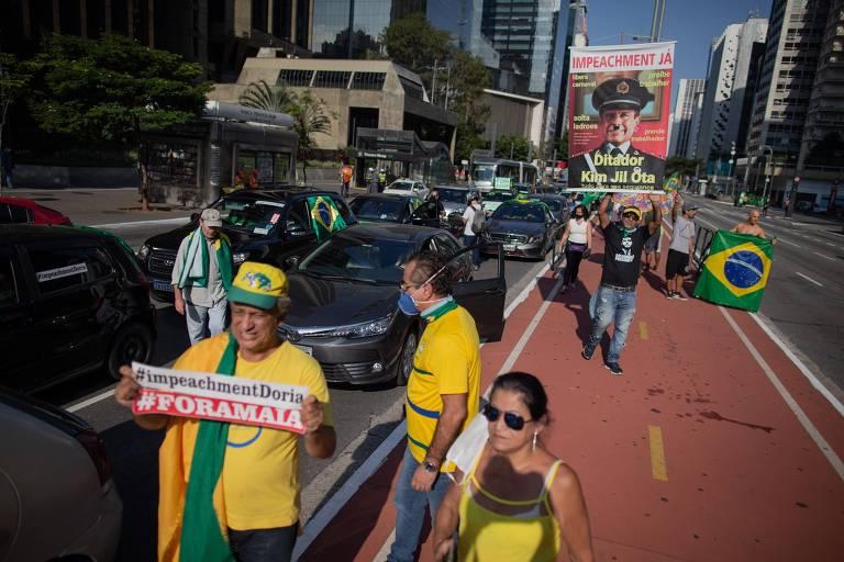 Manifestantes fazem carreata contra o governador de São Paulo, João Doria (PSDB), na avenida Paulista