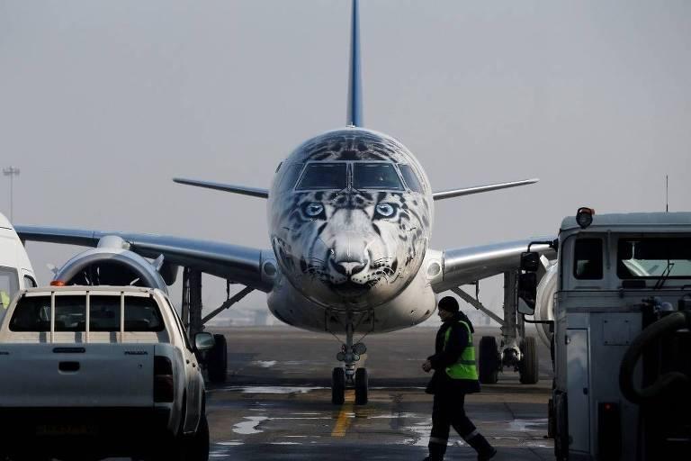 Avião da linha E2 da Embraer, seu mais recente produto na área comercial