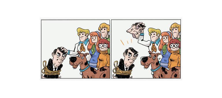 Ilustração mostra a turma do desenho Scooby-Doo com o Bolsonaro, que está preso por cordas. No segundo quadrinho, tiram a máscara do Bolsonaro e por baixo está... ele mesmo.