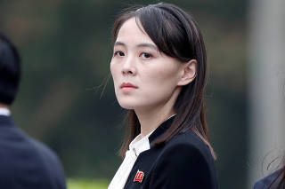 FILE PHOTO: Kim Yo Jong, sister of North Korea's leader Kim Jong Un attends a wreath-laying ceremony at Ho Chi Minh Mausoleum in Hanoi