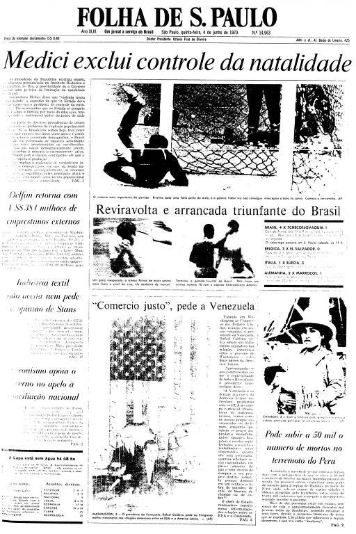Primeira Página da Folha de 4 de junho de 1970