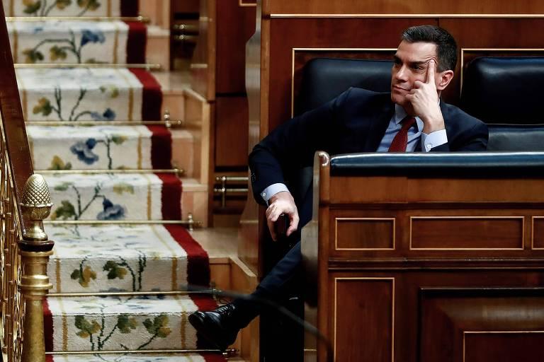 O premiê espanhol, Pedro Sánchez, durante sessão no Parlamento, em Madri