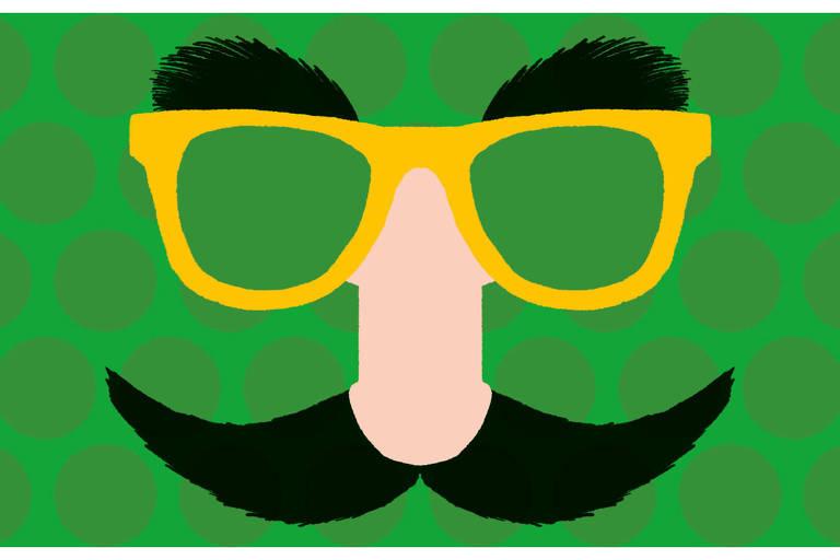 Ilustração de óculos com sobrancelha, nariz e bigode falsos