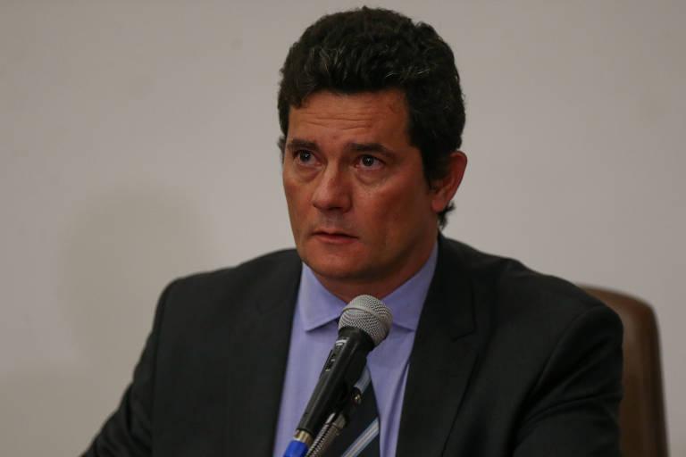 O ex-ministro da Justiça Sergio Moro em pronunciamento de despedida do governo Bolsonaro