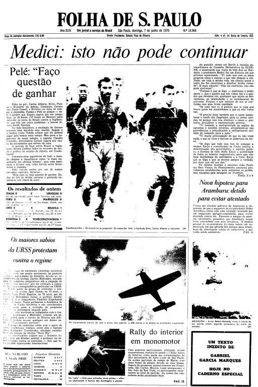 Primeira Página da Folha de 7 de junho de 1970