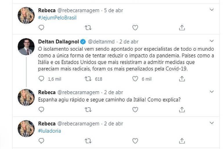 Postagens de Rebeca Ramagem, mulher de Alexandre Ramagem, escolhido por Bolsonaro para ser diretor-geral da PF