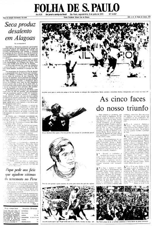 Primeira Página da Folha de 8 de junho de 1970