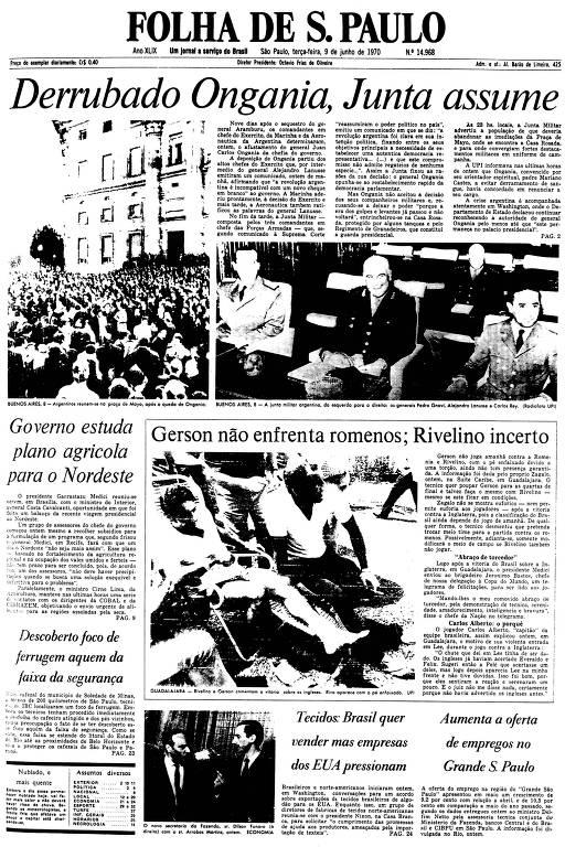 Primeira Página da Folha de 9 de junho de 1970
