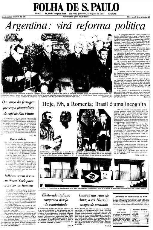 Primeira Página da Folha de 10 de junho de 1970